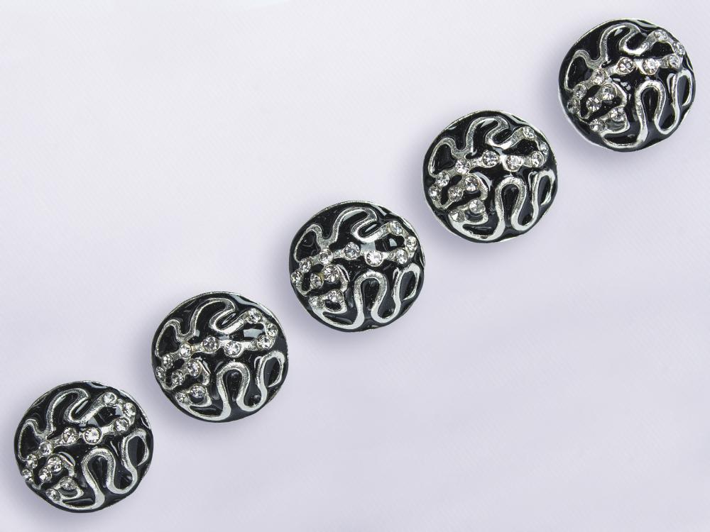 пуговицы черные с серебром